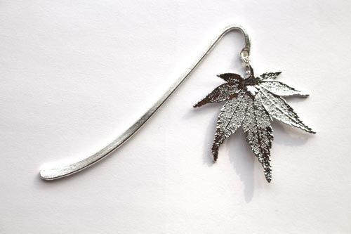 Real Japanese Maple leaf silver bookmark