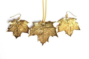 Real Maple leaf gold necklace and earrings set - Arborvita Real leaf jewellery
