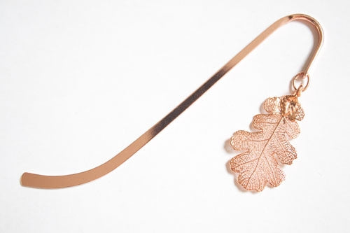 Real Oak leaf rose gold bookmark - Arborvita Real leaf jewellery