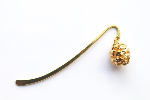 Real Redwood cone gold bookmark - Arborvita Real leaf jewellery