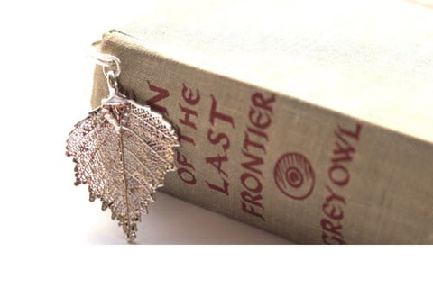 Real Birch Leaf Bookmark In Silver