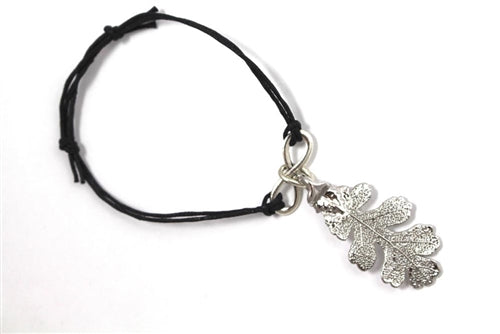 Real Oak leaf bracelet in silver with black cord