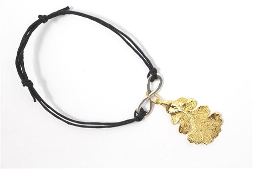 Real Oak leaf bracelet in gold with black cord - Arborvita Real leaf jewellery