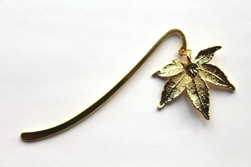 Real Japanese Maple leaf gold bookmark - Arborvita Real leaf jewellery