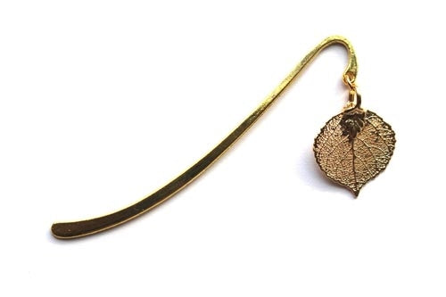 Real Aspen leaf gold bookmark - Arborvita Real leaf jewellery