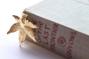 Real Japanese Maple leaf gold bookmark