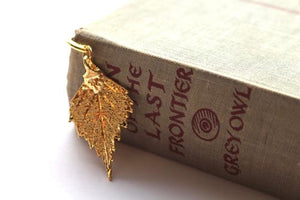 Real Birch leaf gold bookmark