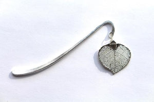 Real Aspen leaf silver bookmark - Arborvita Real leaf jewellery