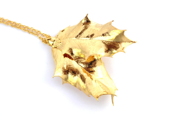Real double Holly leaf gold pendant necklace
