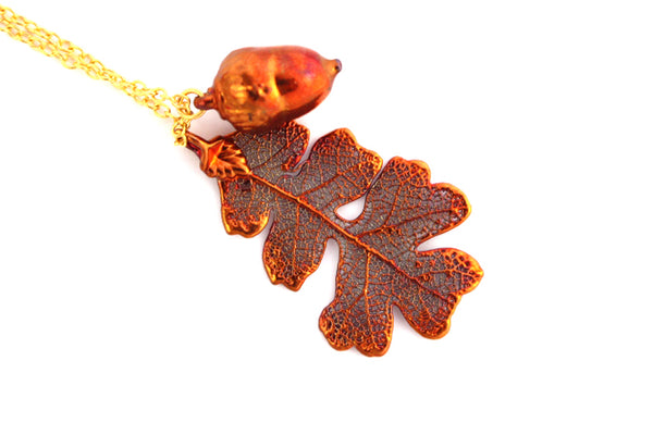 Real Oak leaf and Acorn iridescent copper pendant necklace