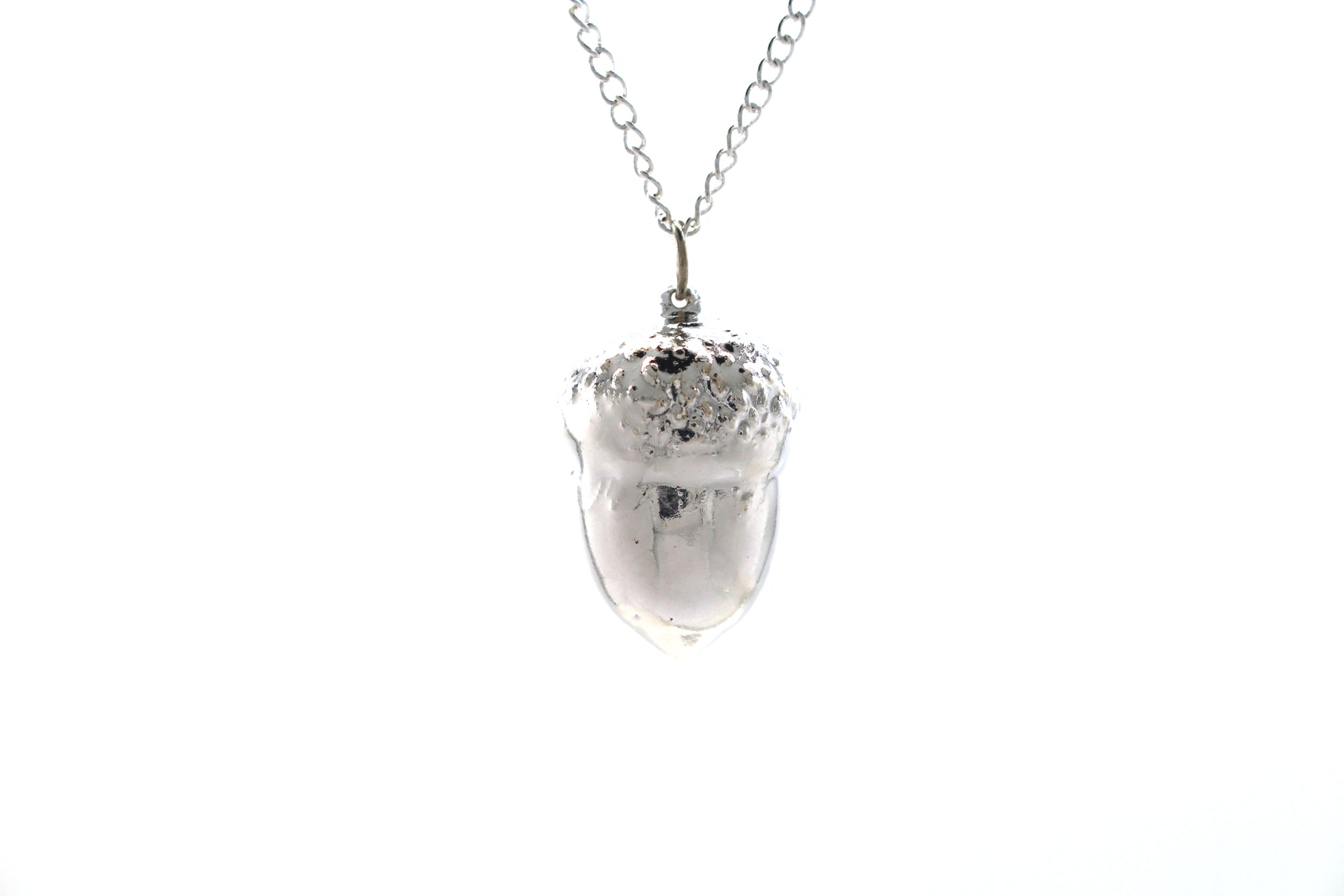 Real Acorn Necklace In Silver