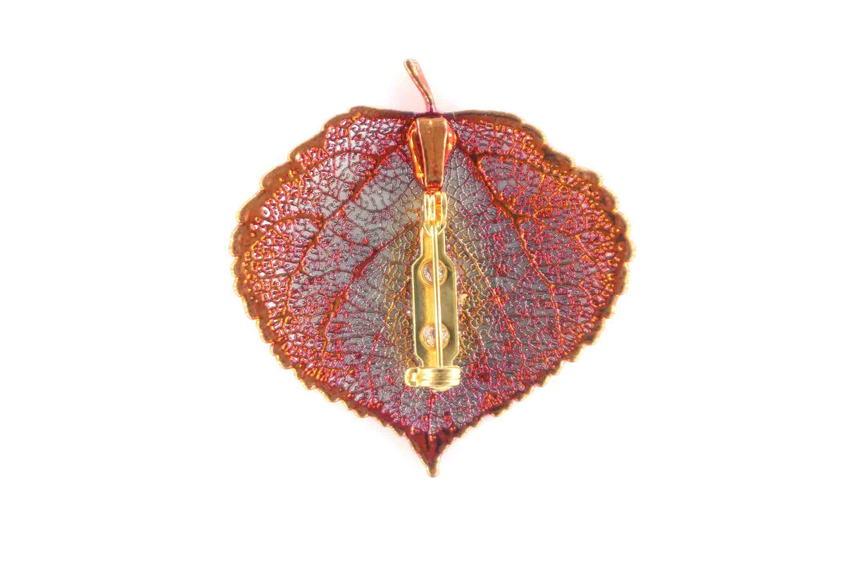 Real Aspen Leaf Brooch In Iridescent Copper Back - Arborvita