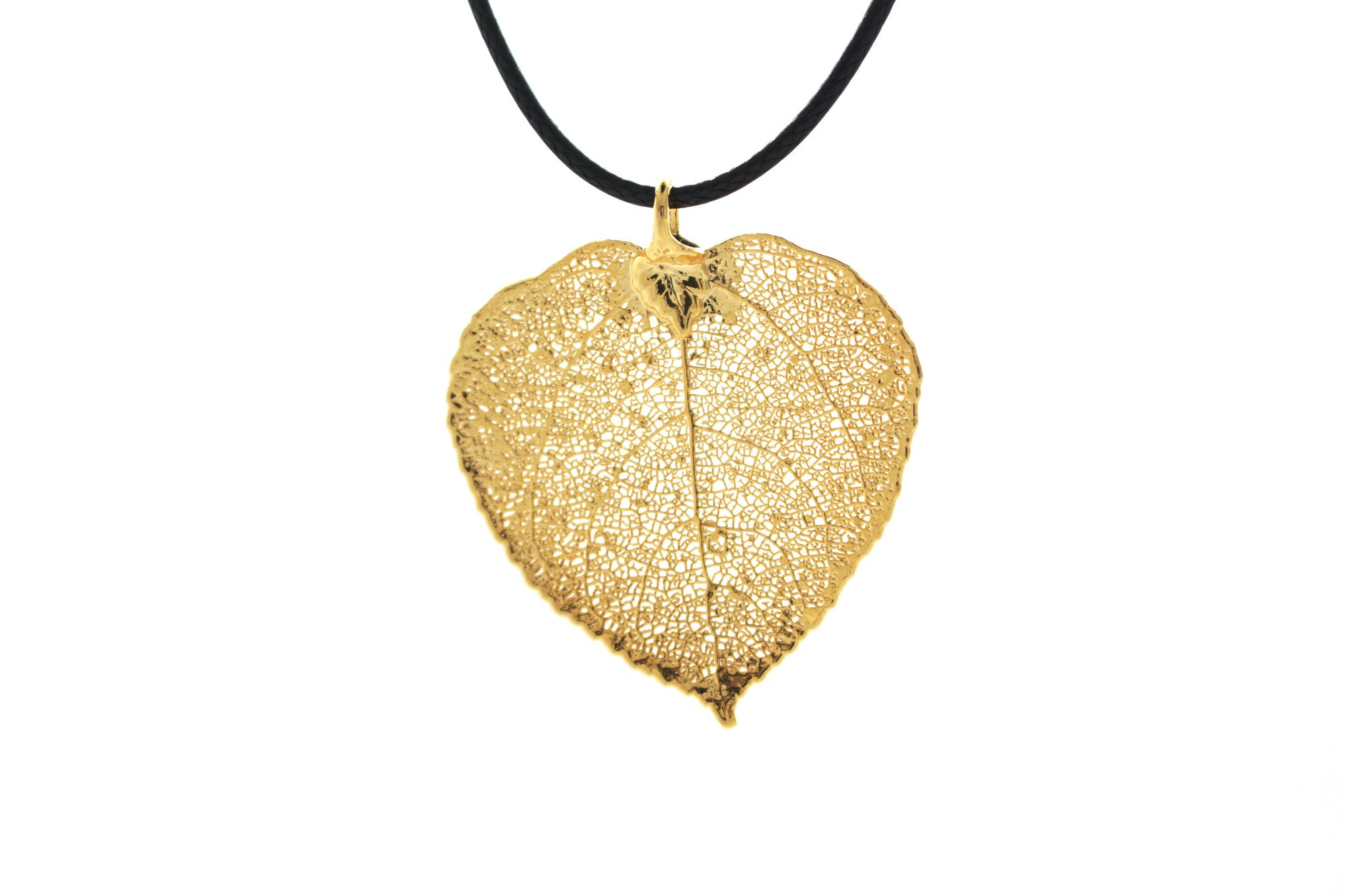 Real Aspen Leaf Necklace In Gold - Black Cord