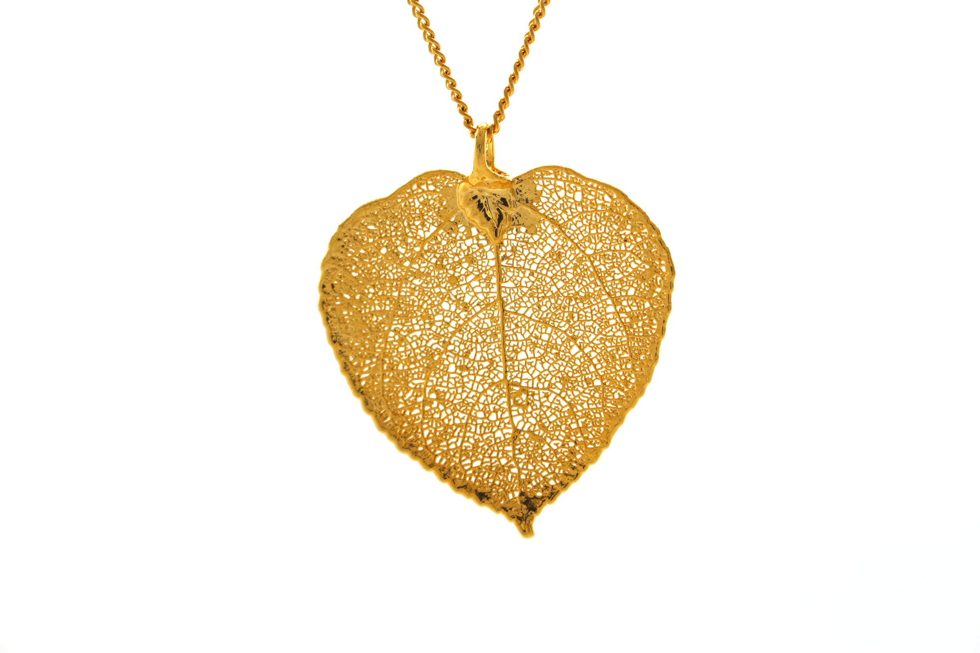 Real Aspen Leaf Necklace In Gold