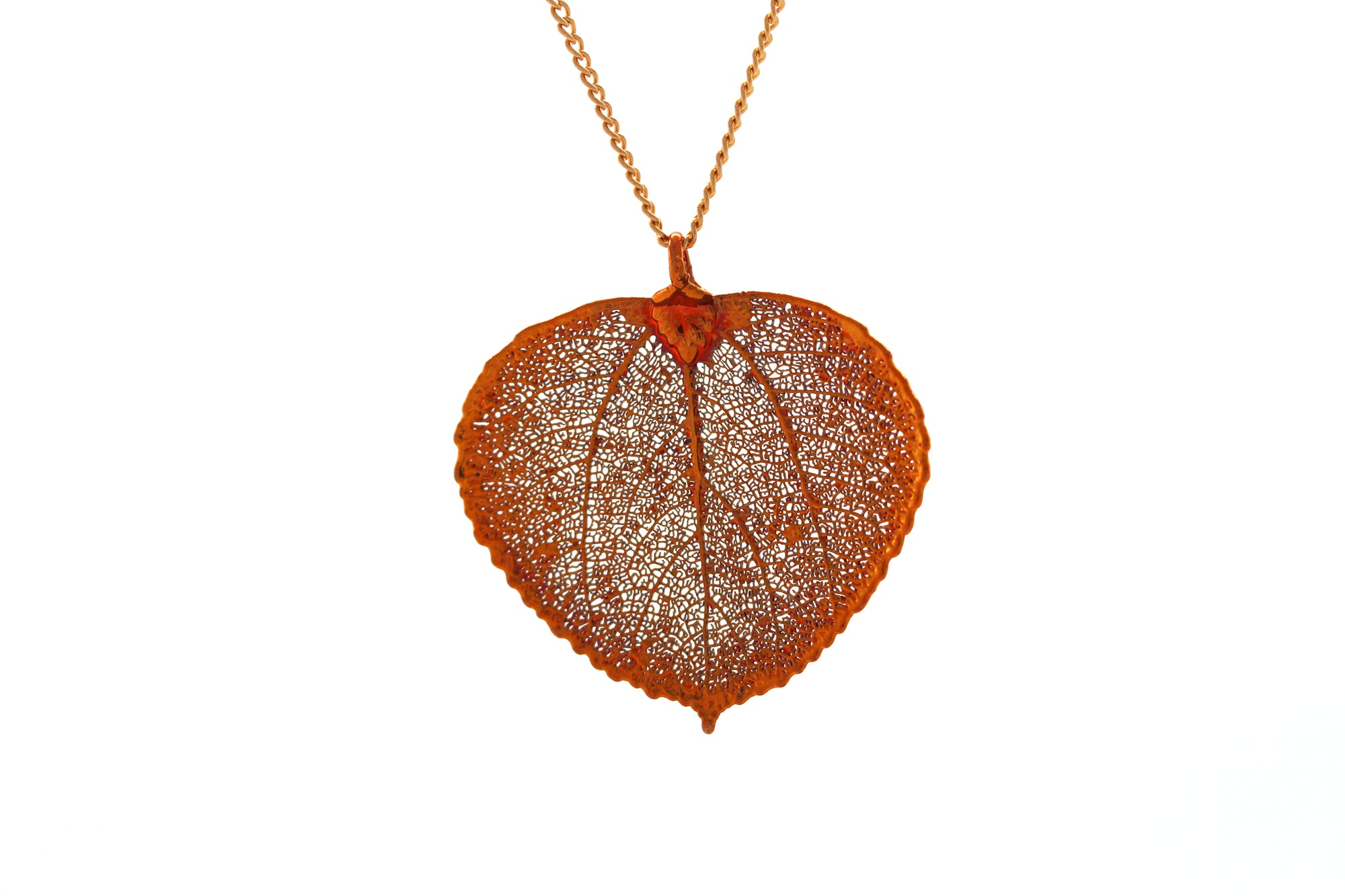 Real Aspen Leaf Necklace In Iridescent Copper