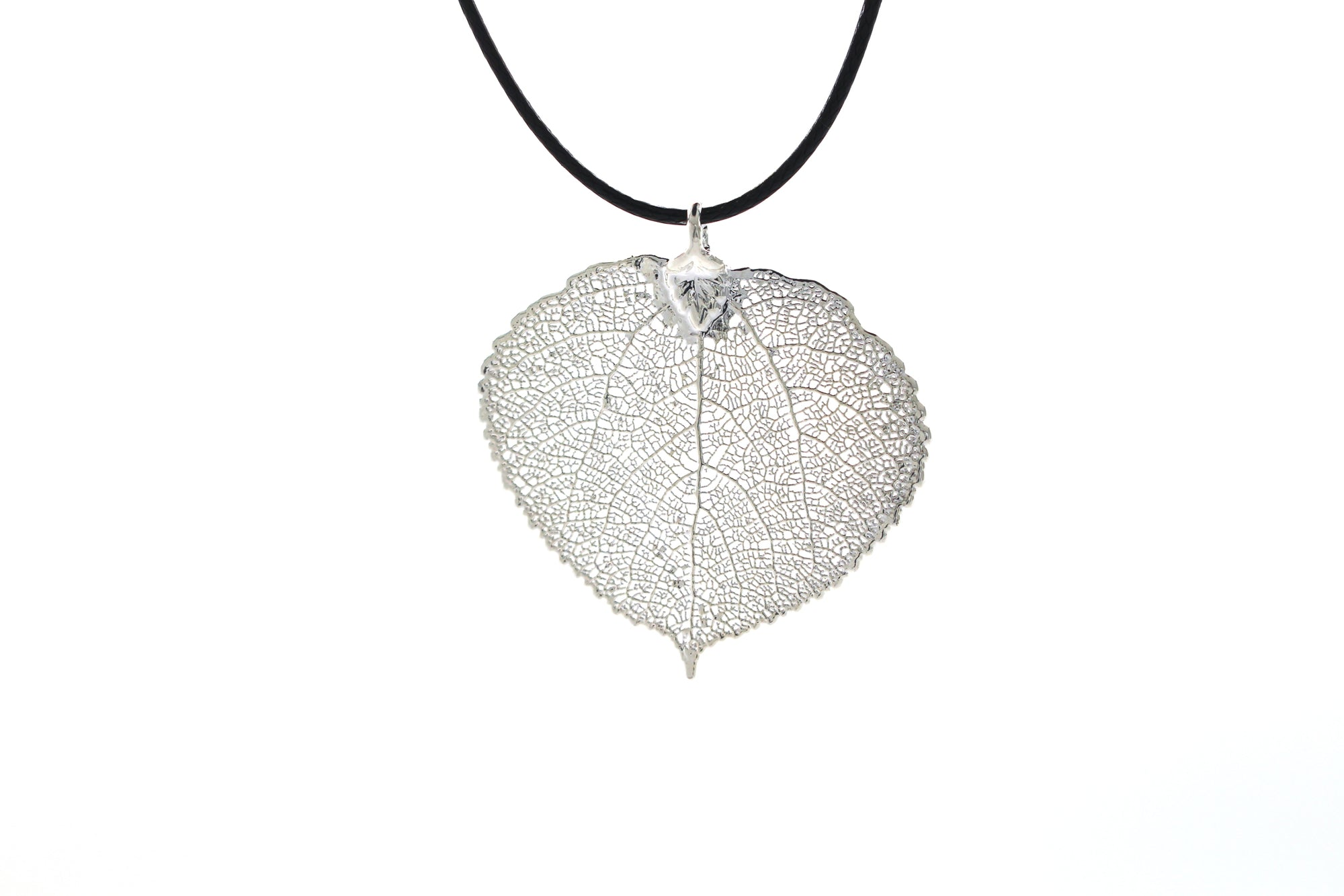 Real Aspen Leaf Necklace In Silver - Black Cord