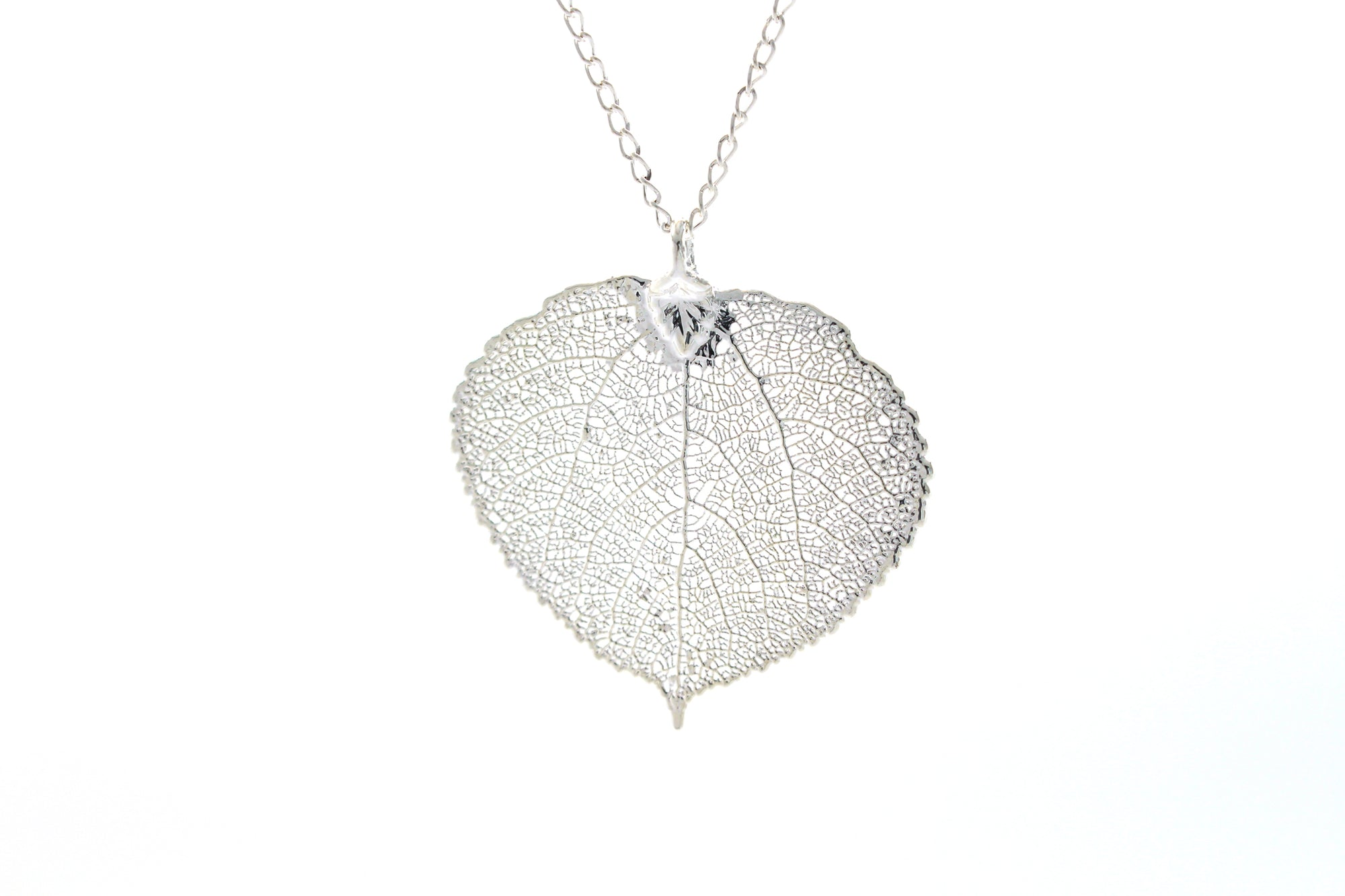 Real Aspen Leaf Necklace In Silver