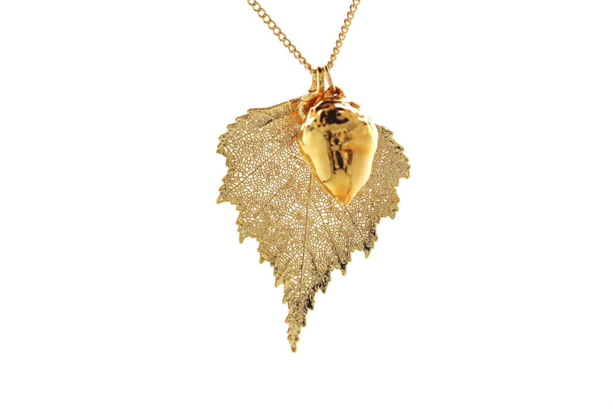 Real Birch Leaf And Acorn Necklace In Gold