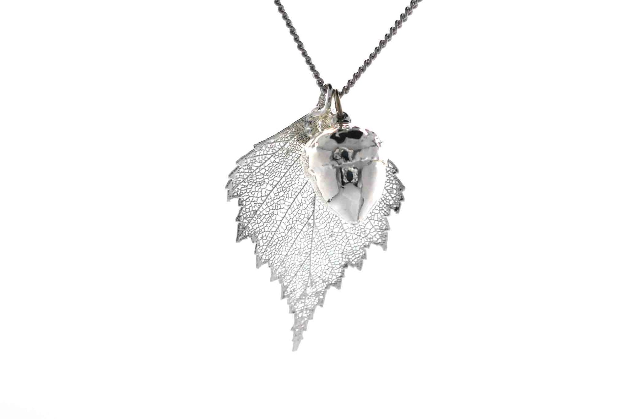 Real Birch Leaf And Acorn Necklace In Silver