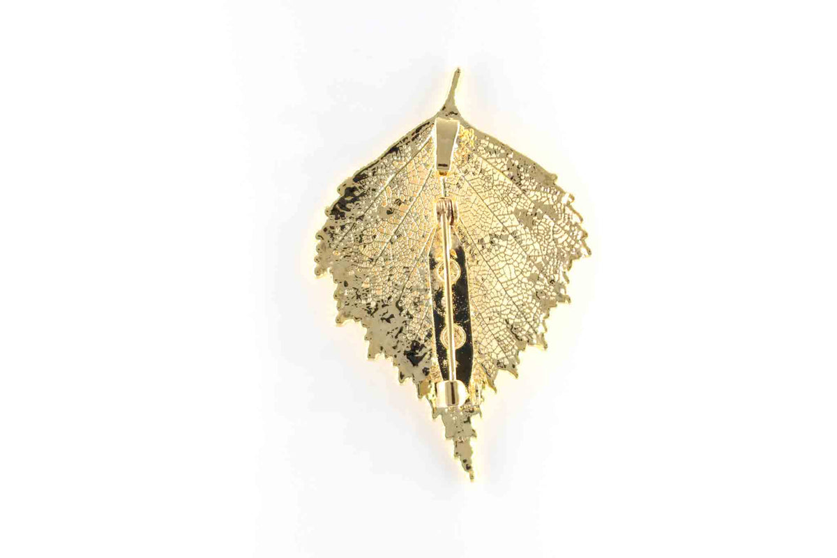 Real Birch Leaf Brooch In Gold back - Arborvita