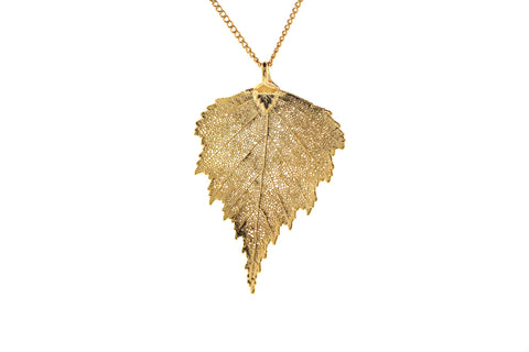 Real Birch Leaf Necklace In Gold