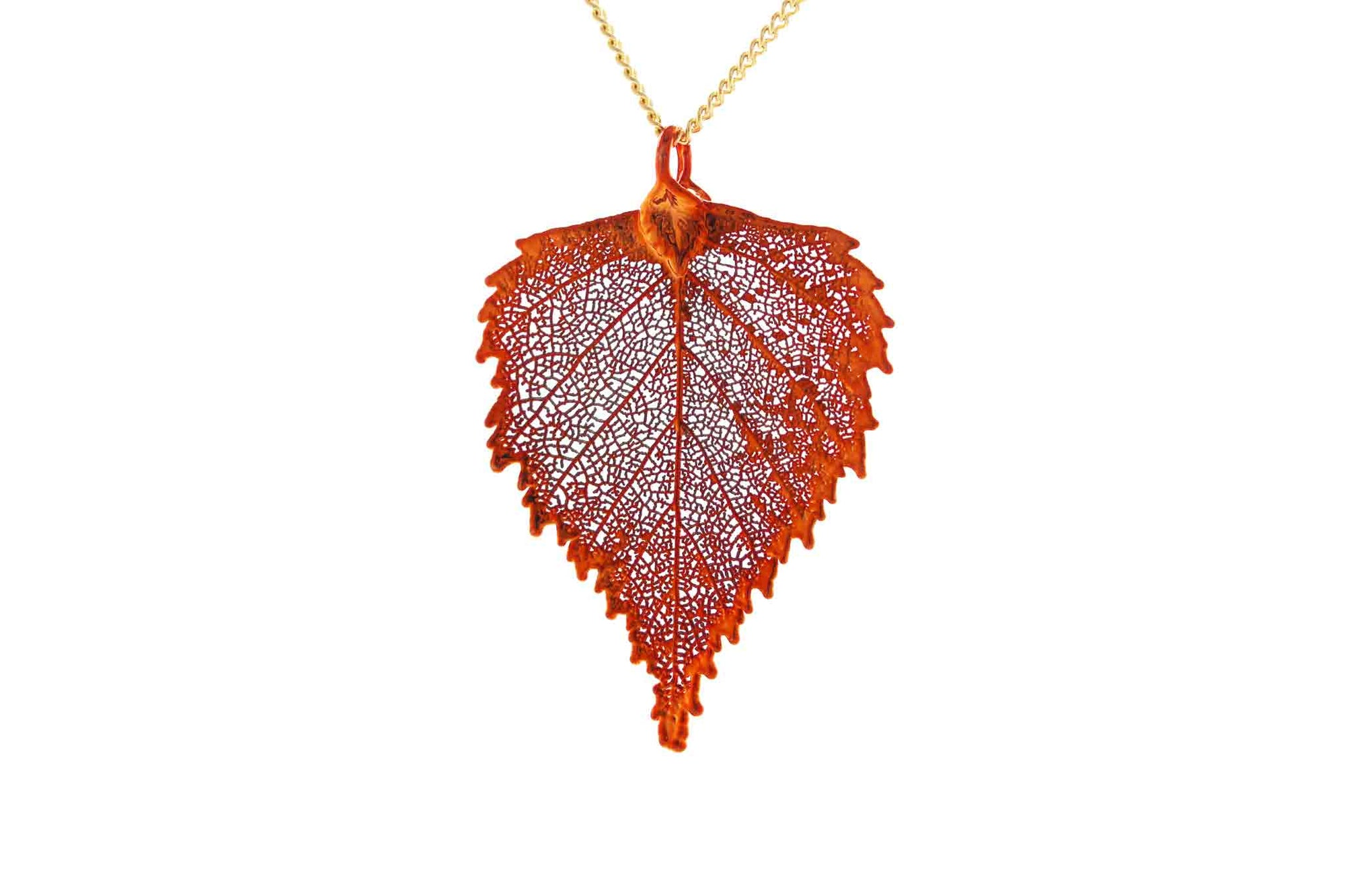 Real Birch Leaf Necklace In Iridescent Copper