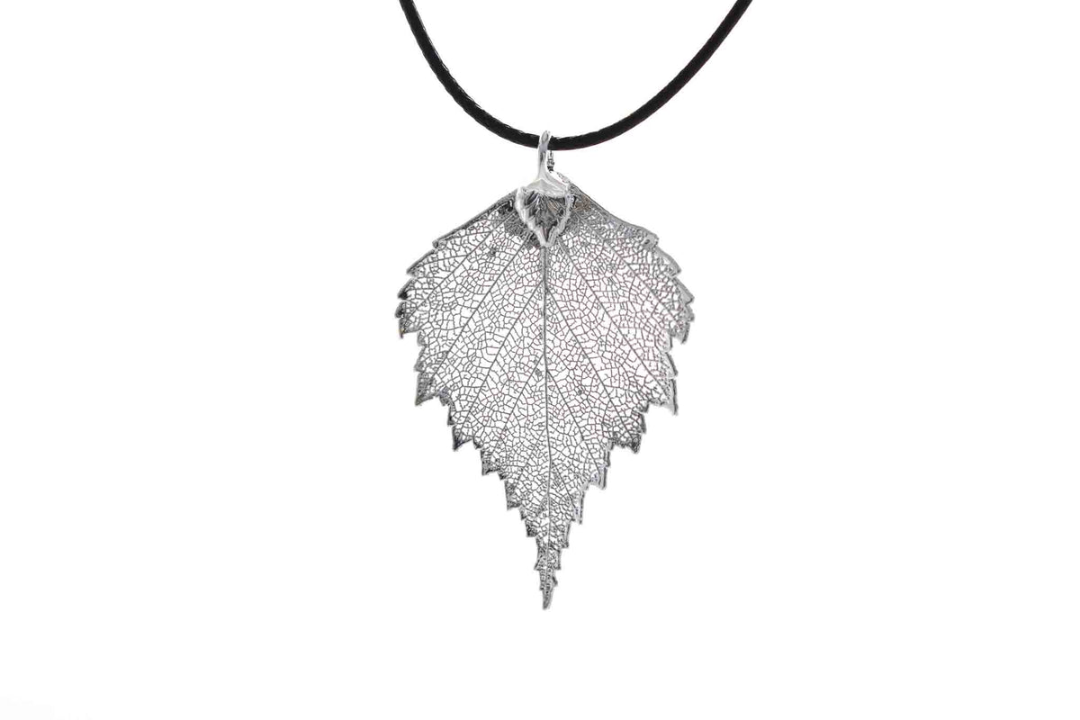 Real Birch Leaf Necklace in Silver - Black Cord