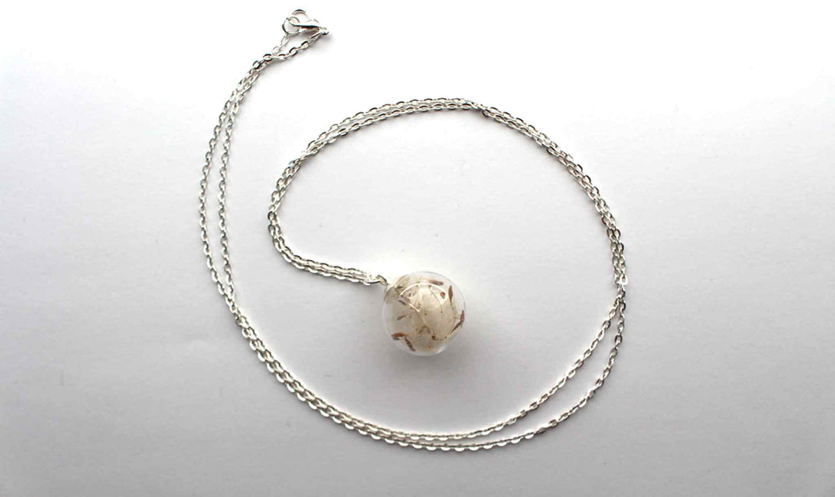 Real Dandelion Seed Necklace In Silver - Arborvita