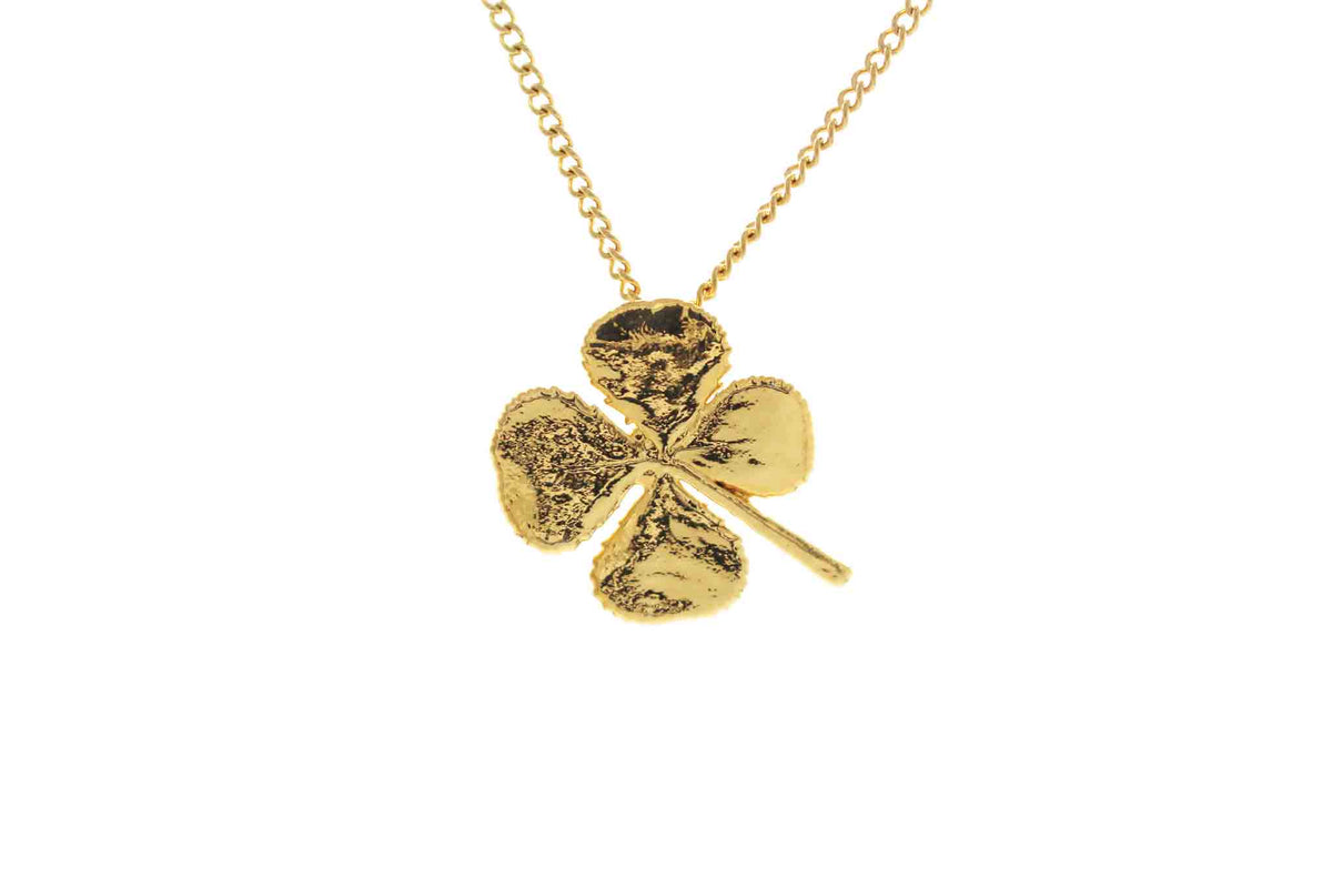 Real Four Leaf Clover Necklace In Gold