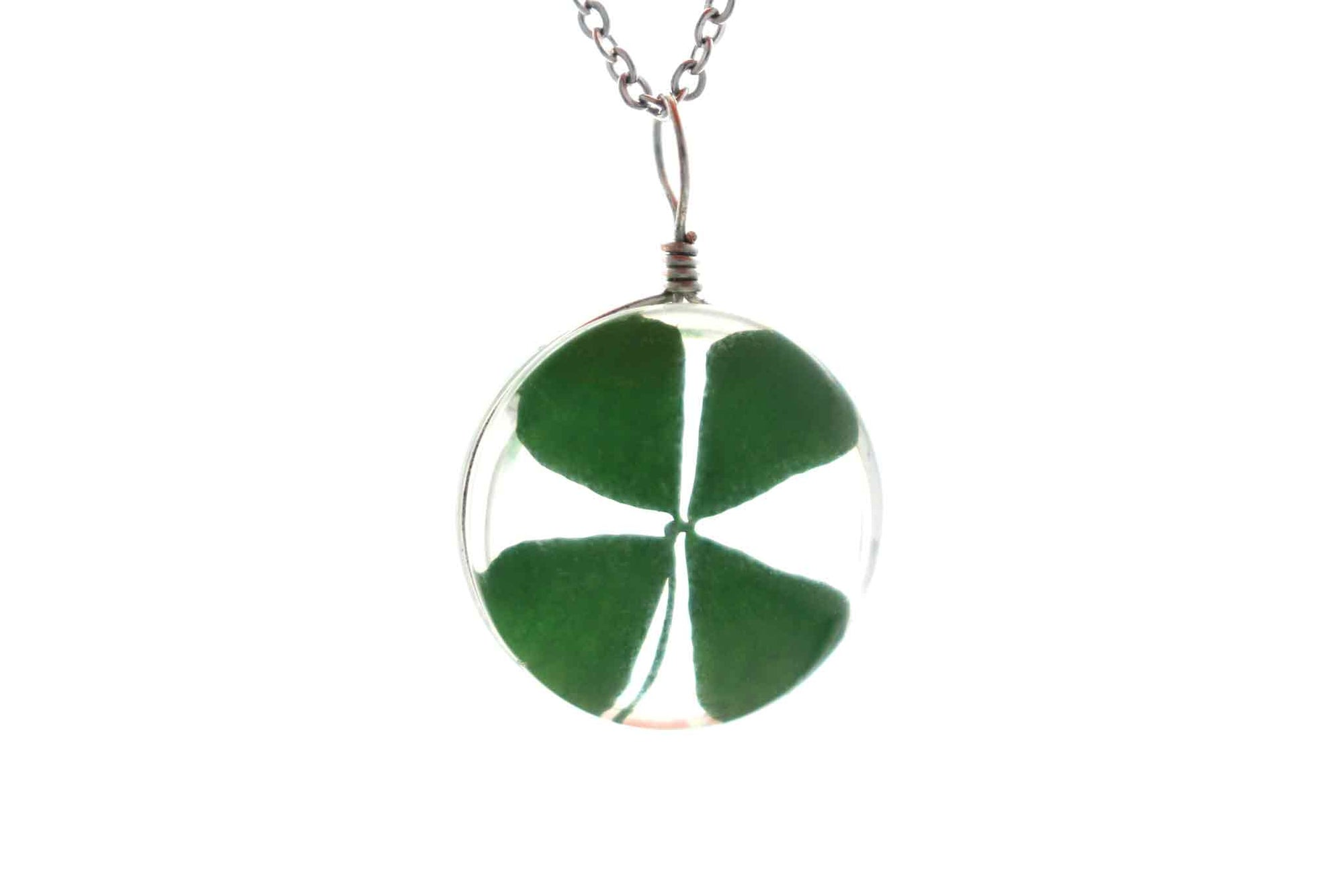 Real Four Leaf Clover Round Glass Necklace In Silver - Arborvita