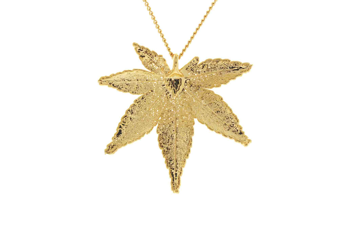 Real Japanese Maple Leaf Necklace In Gold