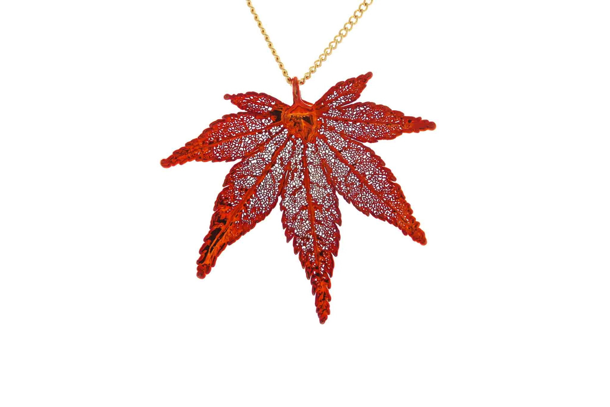 Real Japanese Maple Leaf Necklace In Iridescent Copper