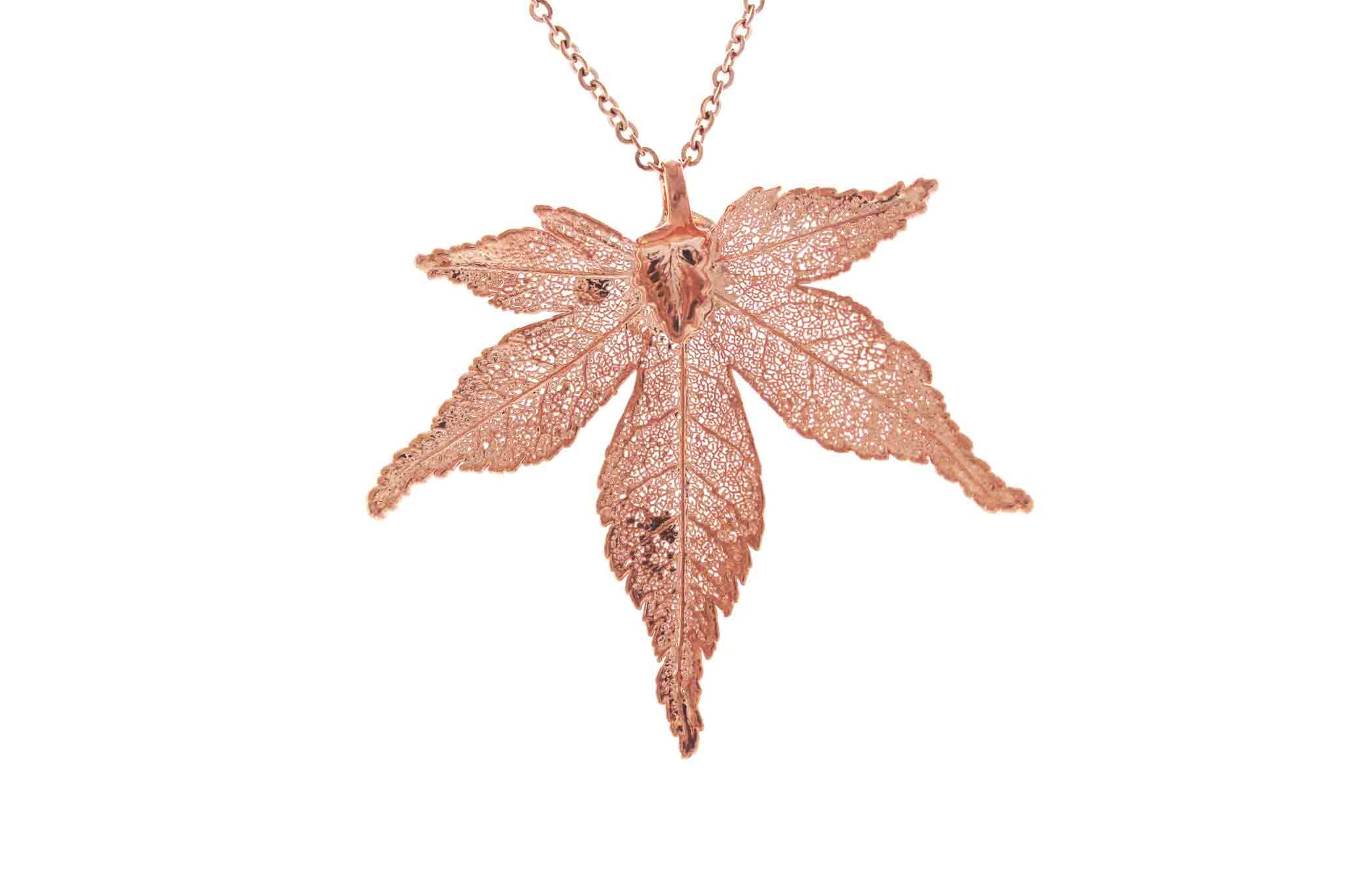 Real Japanese Maple Leaf Necklace In Rose Gold
