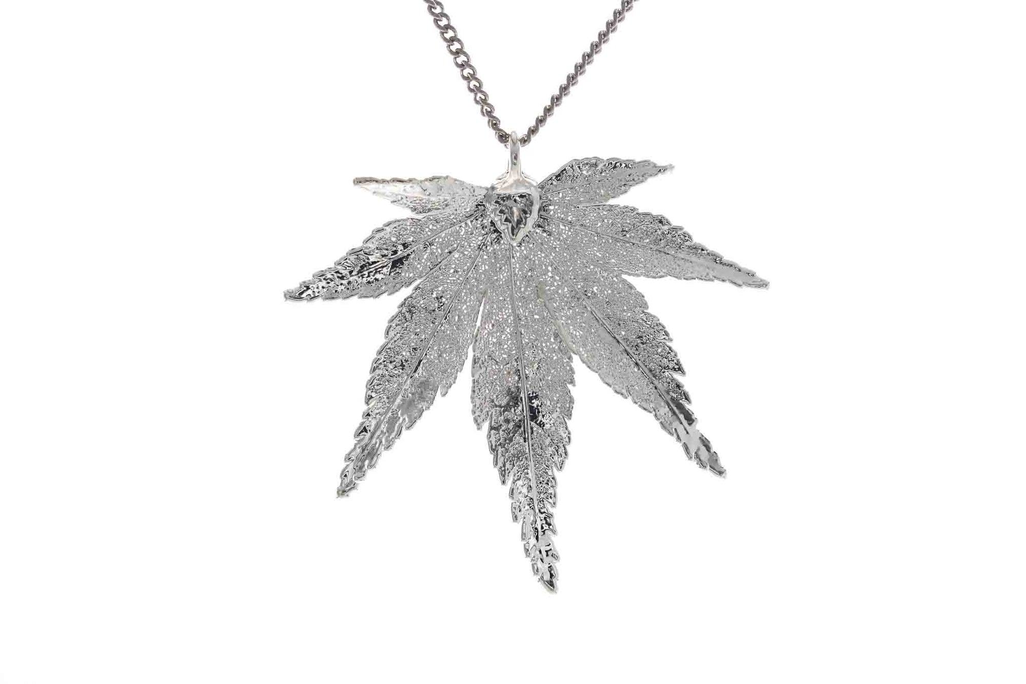 Real Japanese Maple Leaf Necklace In Silver