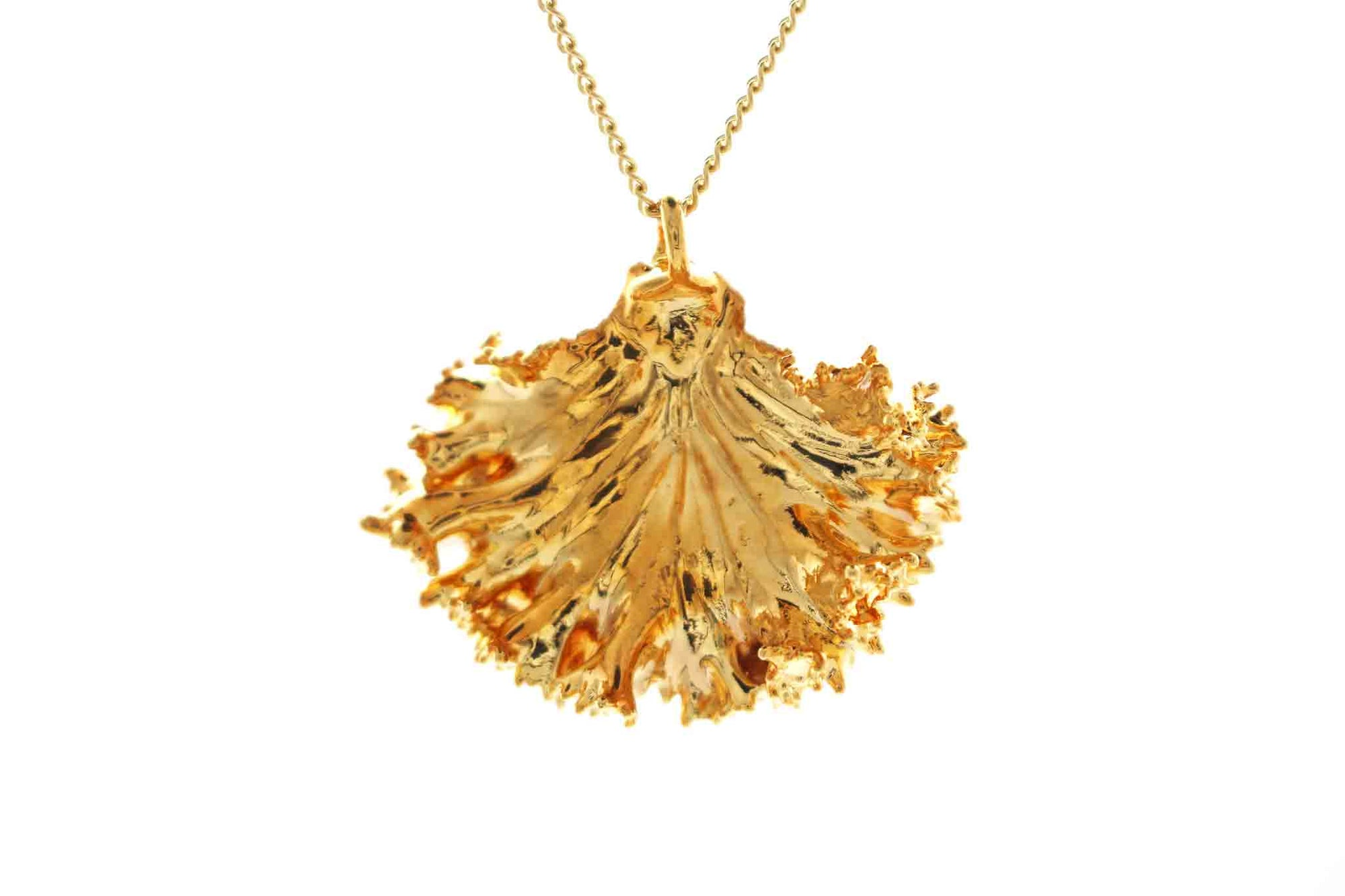 Real Kale Leaf Necklace In Gold