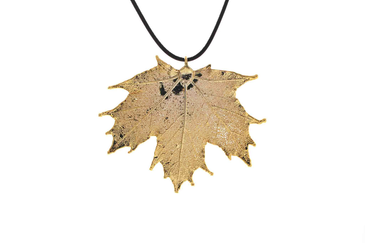 Real Maple Leaf Necklace In Gold - Black Cord