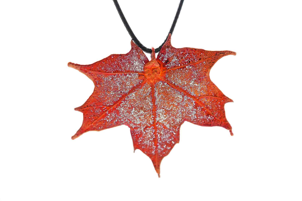 Real Maple Leaf Necklace In Iridescent Copper - Black Cord