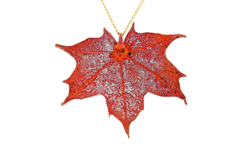 Real Sugar Maple Leaf Necklace In Iridescent Copper