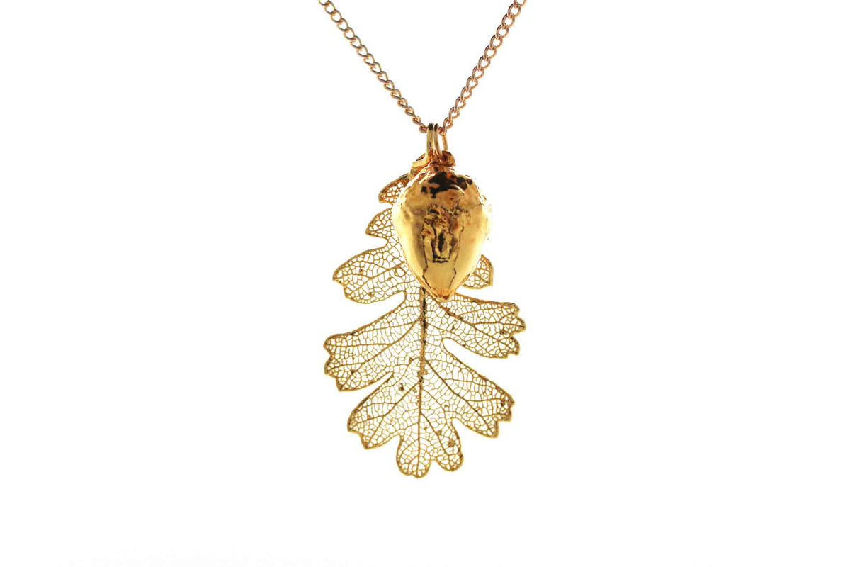 Real Oak Leaf And Acorn Necklace In Gold