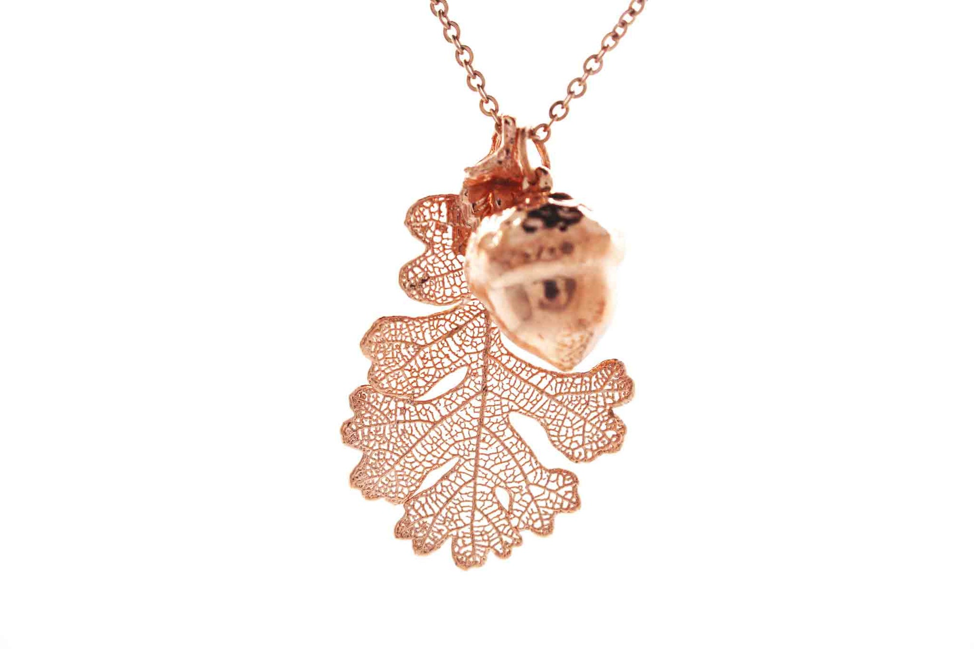 Real Oak Leaf And Acorn Necklace In Rose Gold