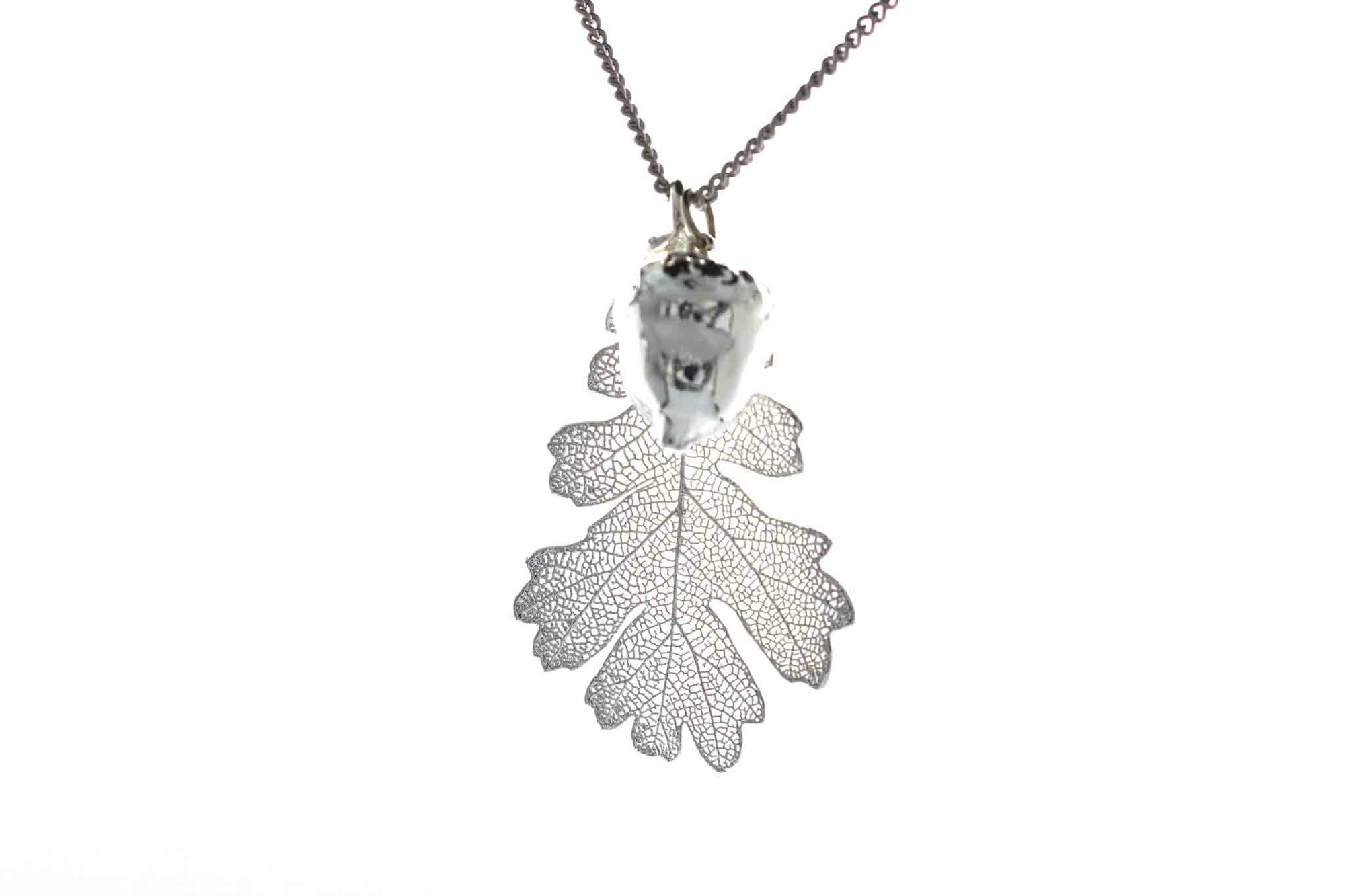 Real Oak Leaf And Acorn Necklace In Silver