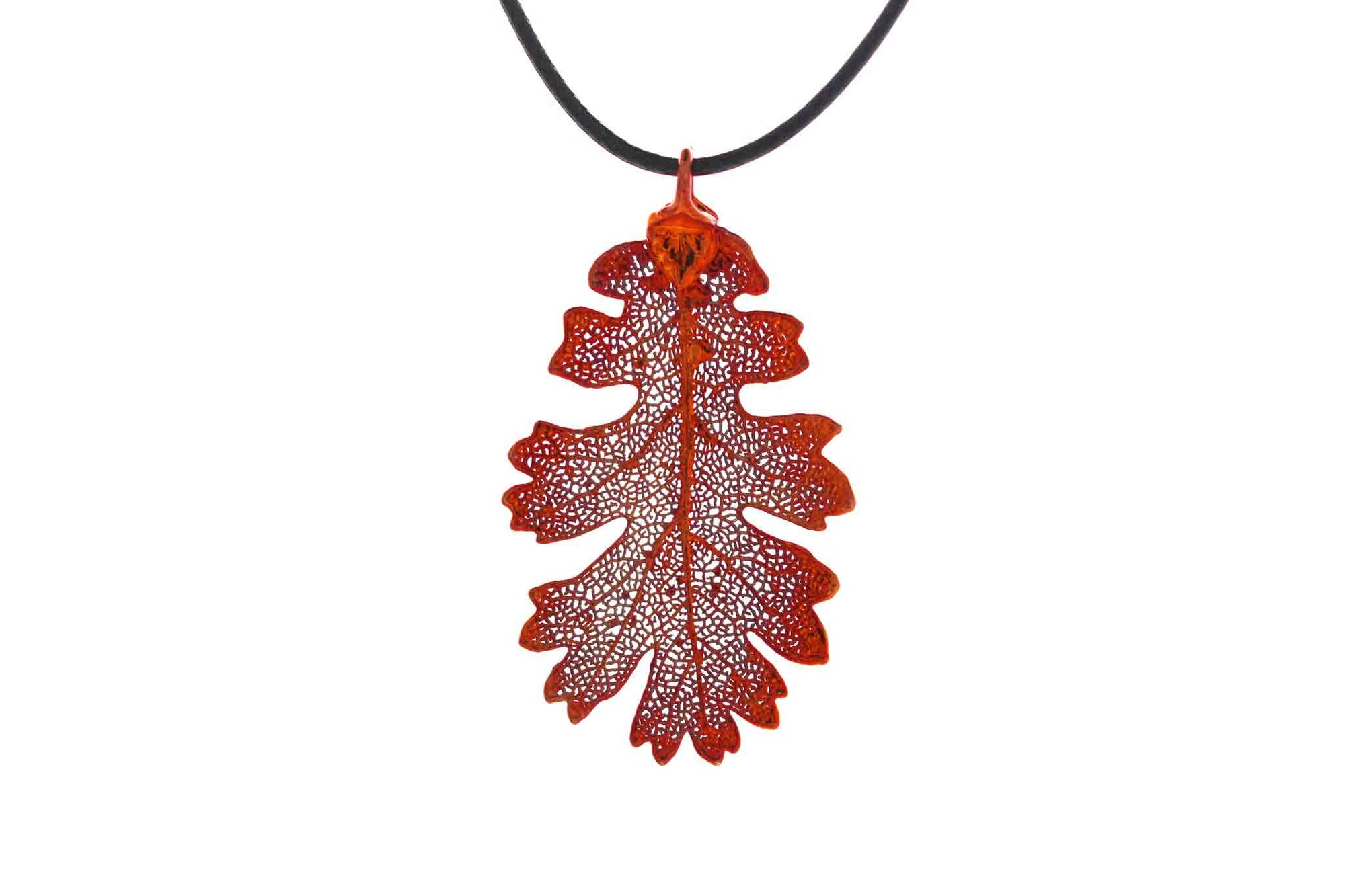 Real Oak Leaf Necklace In Iridescent Copper - Black Cord