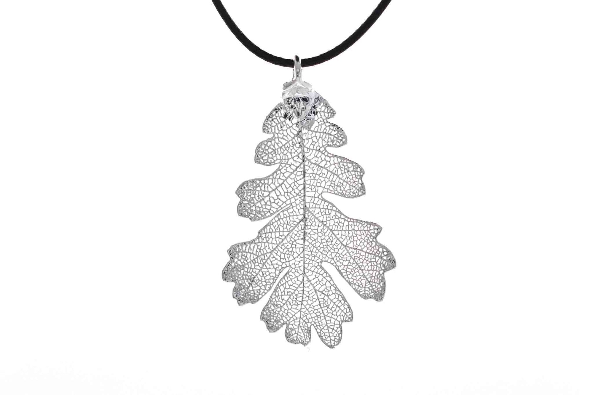 Real Oak Leaf Necklace In Silver - Black Cord
