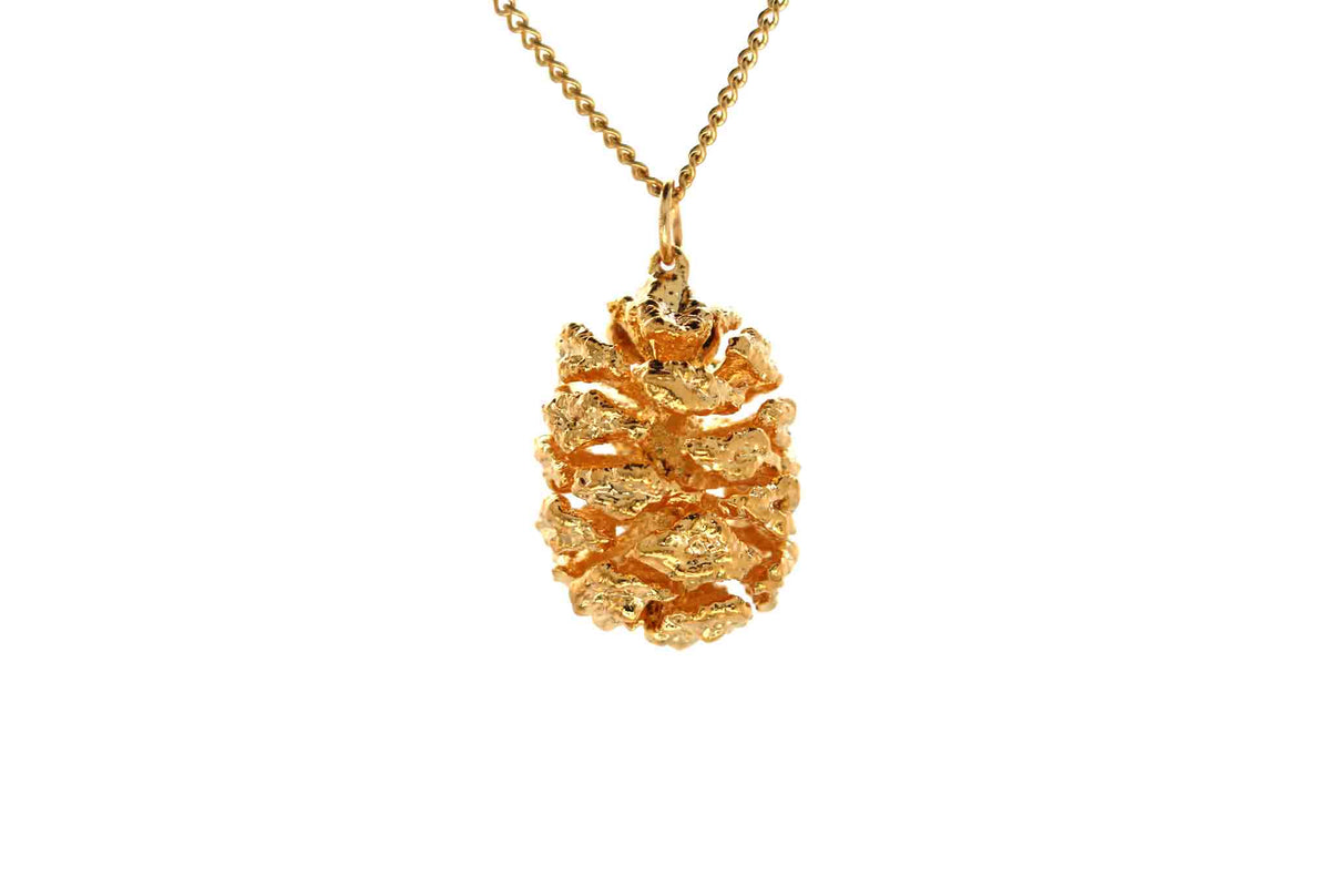 Real Redwood Cone Necklace In Gold