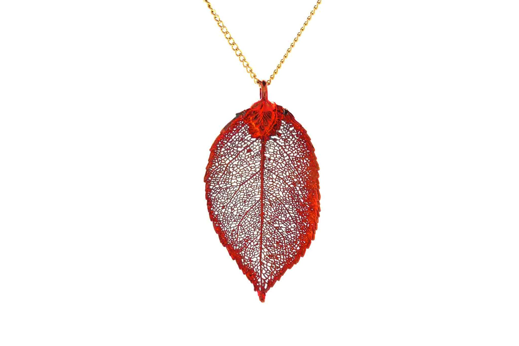Real Rose Leaf Necklace In Iridescent Copper