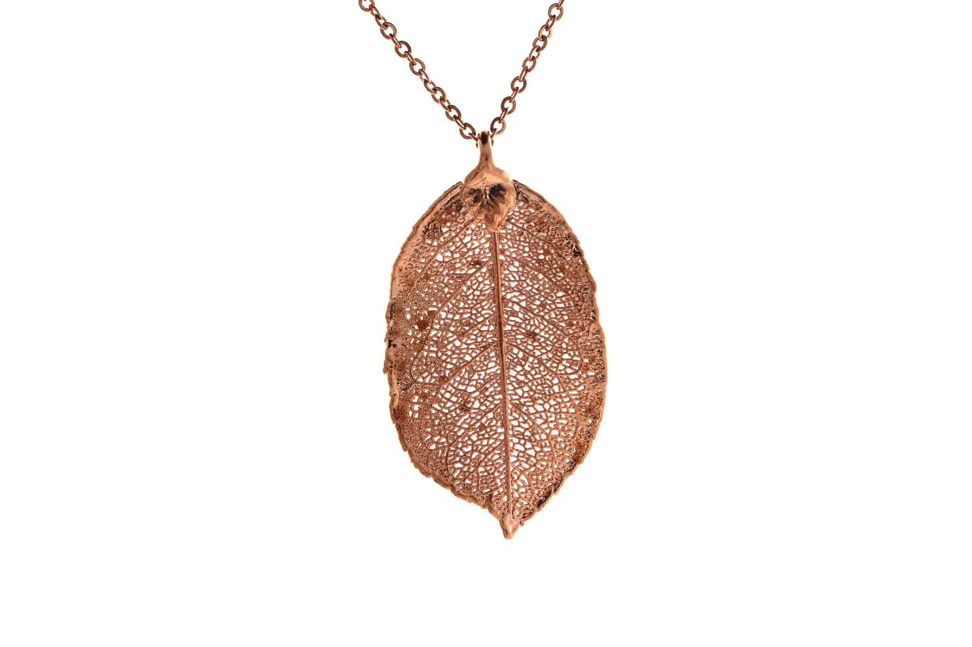 Real Rose Leaf Necklace In Rose Gold