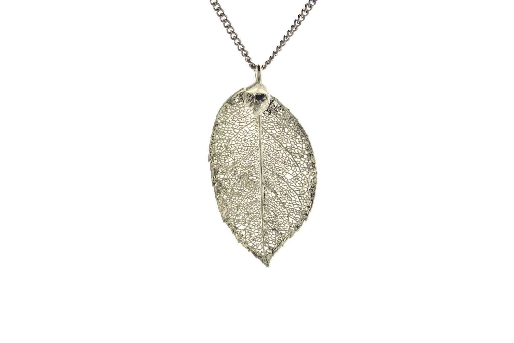 Real Rose Leaf Necklace In Silver