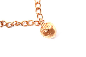 Real Acorn bracelet in rose gold with rose gold chain