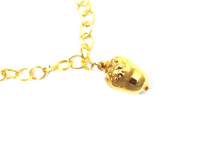 Real Acorn bracelet in gold with gold chain