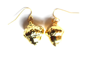Real Acorn gold earrings